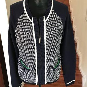 LIZ CLAIBORNE front zipper cardigan w/pockets